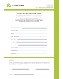 EOS Credit Card Authorisation Form